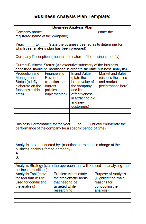 Business analysis plan template flashek