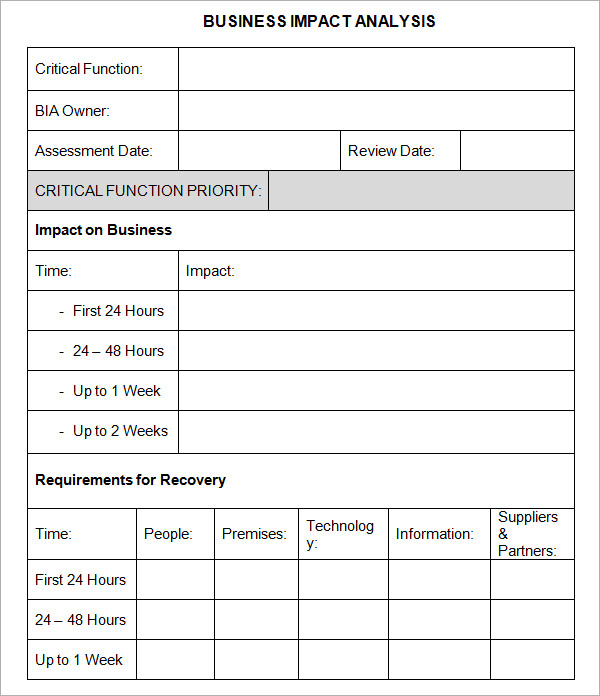 Business Analysis Templates – Sample Business Analysis